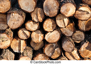 stack of wooden beams