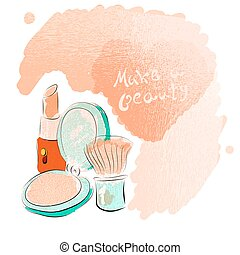 Watercolor cosmetics pattern with make up artist objects...