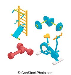 Realistic icons set of different fitness equipments and training apparatus