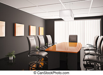 conference room 3d - conference room with orange table 3d...
