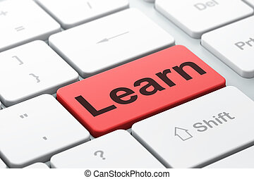 Education concept: Learn on computer keyboard background