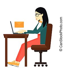 Woman receiving email. - An asian woman sitting at the table...
