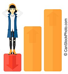Business woman standing on low graph. - An asian business...