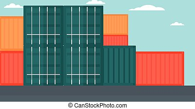 Background of shipping containers in port.
