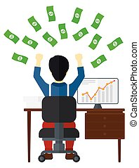 Successful businessman with money. - An asian man sitting in...