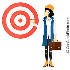 Business woman with target board.