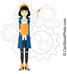 Woman standing on gears background.