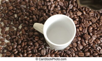 """Shot of Cup of fresh coffee - """"100%, advertise, aroma,..."""