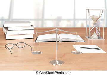 Books, eyeglasses with scales and hourglass on wooden table