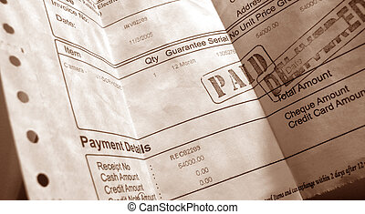 Invoice - Close up of financial invoice & documentary