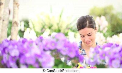 garden springtime woman - garden springtime concept, woman...