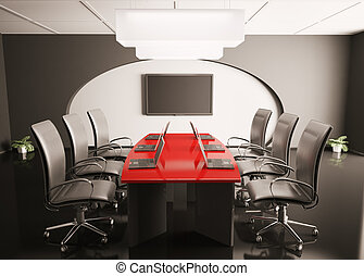 conference room with lcd and laptops 3d - conference room...