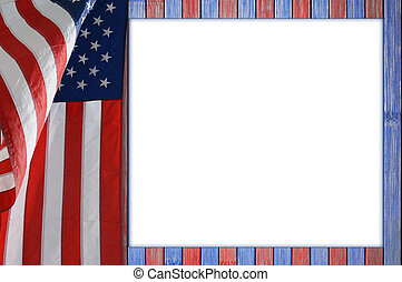 Patriotic table with US flag. The wood table is painted red...