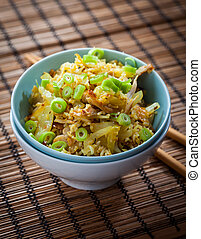 Fried Rice with chicken meat and vegetable