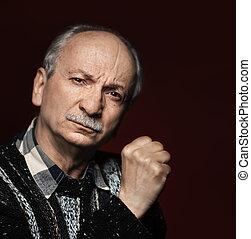 Closeup portrait of an old man - Old senior man closeup...