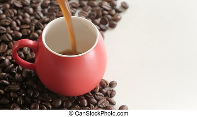 """Shot of Pouring espresso into cup with copy space - """"100%,..."""
