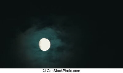 Full Moon In The Night Sky - Full Moon in a cloudy night....