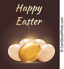 Easter background with golden eggs