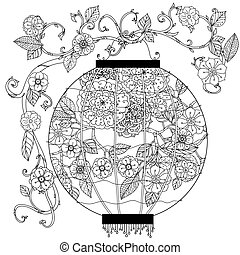 Chinese lantern zentagle - Oriental lantern decorated with...