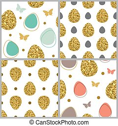 Seamless pattern with golden eggs