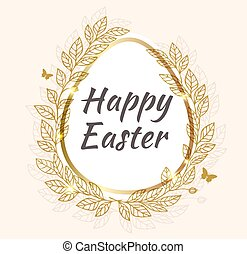 Easter background with leaves - Vector Easter background...