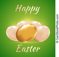Easter card with golden eggs on a green background