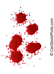 Bloody Red Blots - Bloody red blots isolated on white...