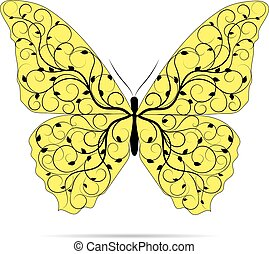 Beautiful yellow butterfly with floral pattern.