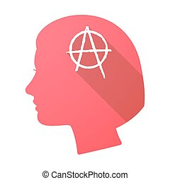 Long shadow female head with an anarchy sign - Illustration...