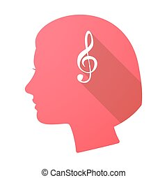 Long shadow female head with a g clef - Illustration of a...