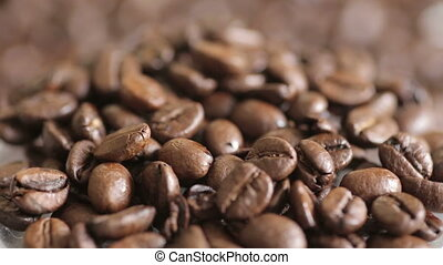 Shot of Rotating fresh coffee beans - Shot, of, Rotating,...