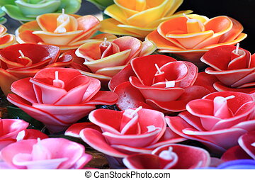 color flowers candles as nice romantic background