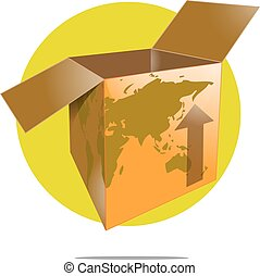 Illustration of shipping box with world map