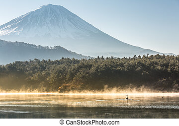Mountain Fuji Lake saiko - Mountain Fuji in winter sunrise...