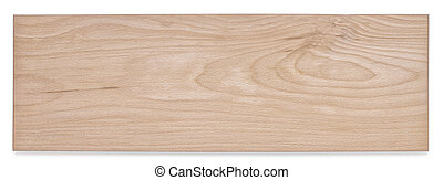 Top view of wooden board isolated on white background