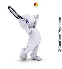 Morph Man Playing Tennis - 3D Render of Morph Man Playing...