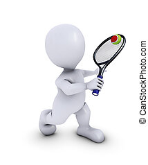 Morph Man Playing Tennis - 3D Render of Morph Man Playing...