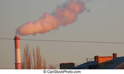 Chimneys of Power Plant. Air Pollution Copyspace on the sky