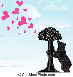 Love heart background with statue of Bear and strawberry tree and the words Madrid, Spain inside, vector illustration