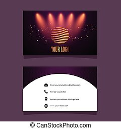 Business card mock up with spotlights design