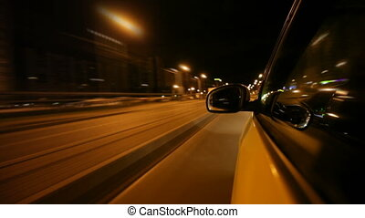 Driving in the night city by car