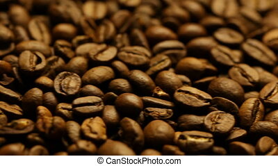 Roasted coffee beans background macro