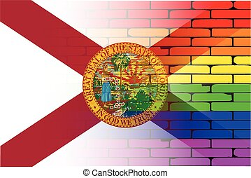 Gay Rainbow Wall Florida Flag - A well worn wall painted in...