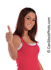 Young woman making positive gesture - An attractive young...