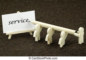 Service - Males wooden write the word service