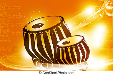 tabla, an Indian music instrument with music notes -...