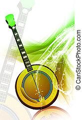 Mandolin - Illustration of a mandolin with music notes
