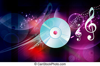 Compact disc - Illustration of a compact disc with music...
