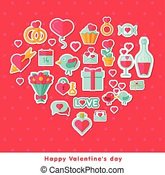 Valentine background with flat elements.