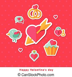 Valentine background with flat elements